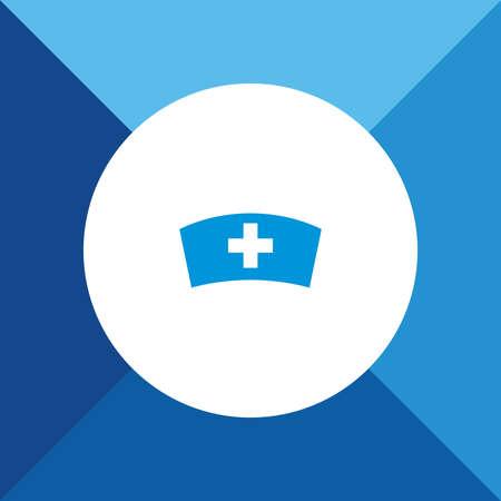 enfermera con cofia: Icono casquillo de la enfermera en el fondo de color azul