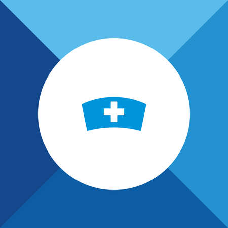nurse cap: Nurse cap icon on blue color background