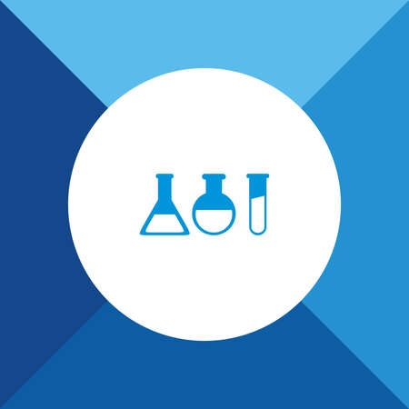 laboratory glass con on blue color background