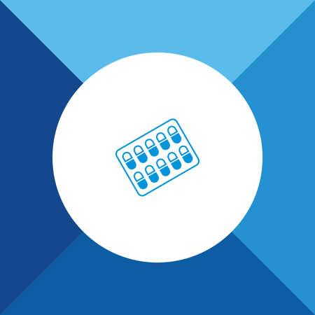 a tablet blister: Medicines icon on blue color background Illustration