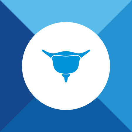 urination: Bladder icon on blue color background