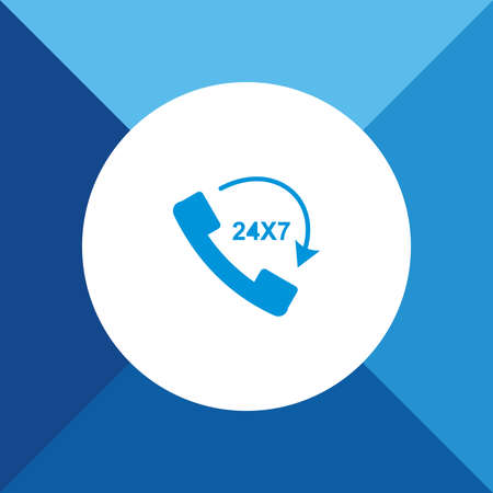 24x7: Call 24X7 icon on blue color background Illustration