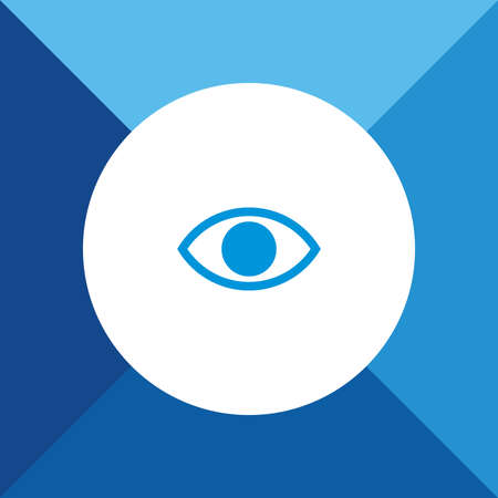 EYE icon on blue color background Vector