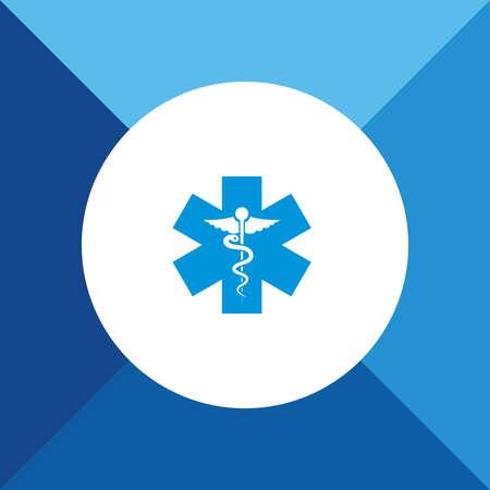 emblem for drugstore or medicine: Medical sign icon on blue color background