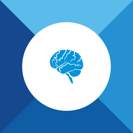 head wise: Brain icon on blue color background