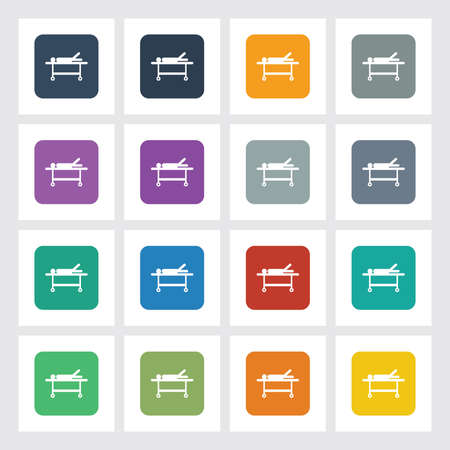 paciente en camilla: Icono Piso Muy útil del paciente sobre Camilla con diferentes colores de interfaz de usuario. Vectores