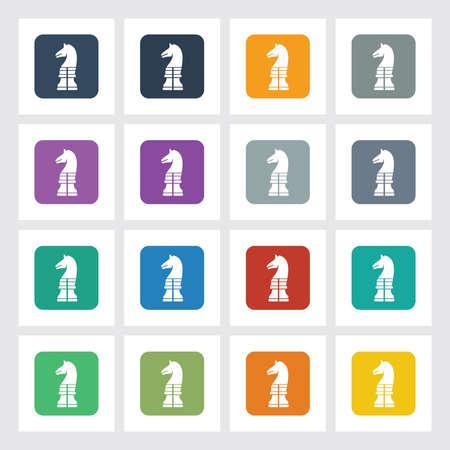chess knight: Molto utile Icona piatto di Scacchi Cavaliere con differenti colori dell'interfaccia utente.
