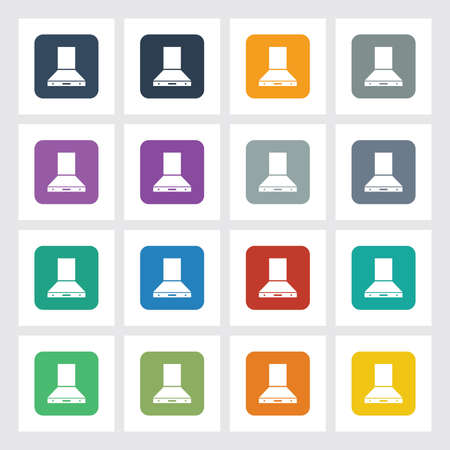 gas fireplace: Very Useful Flat Icon of Chimney with Different UI Colors. Eps-10. Illustration