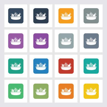 canasta de frutas: Icono Piso muy �til de la cesta de fruta con diferentes colores de interfaz de usuario