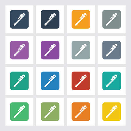 refit: Very Useful Flat Icon of Wrench with Different UI Colors. Illustration