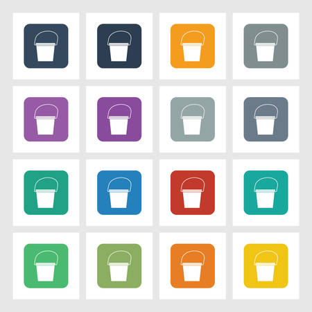 Very Useful Flat Icon of Bucket with Different UI Colors.