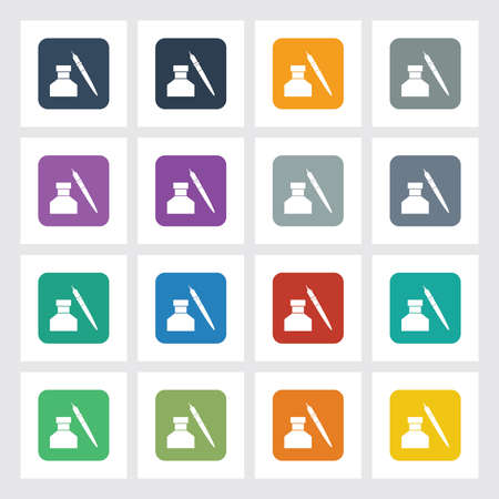 signing papers: Very Useful Flat Icon of Inkpot with Different UI Colors.