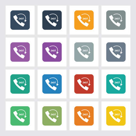 24x7: Very Useful Flat Icon of Call 24X7 with Different UI Colors. Illustration