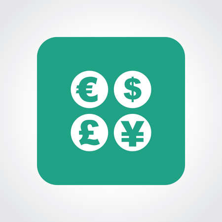 currency converter: Very Useful Flat Icon of Currency sign. Eps10.
