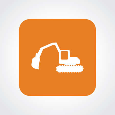 mine site: Very Useful Flat Icon of Excavator .  Illustration