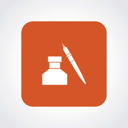 Very Useful Flat Icon of Pen Ink pot. Illustration