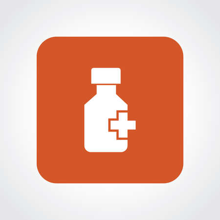preventative: Very Useful Flat Icon of Drug Bottle.