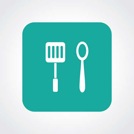 Flat Icon of Spoon & Spatula Vector