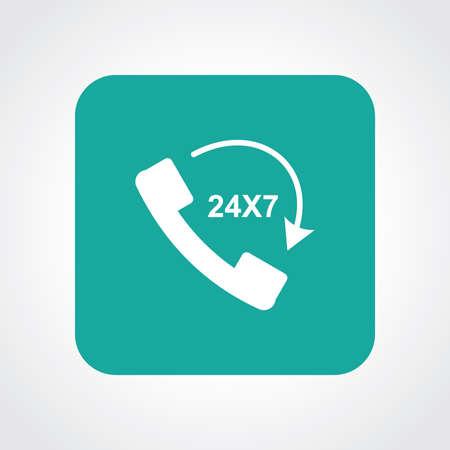 24x7: Flat Icon of call 24X7