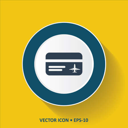 cardholder: Blue vector Icon of Travel Credit card on Yellow Color Background with Long Shadow. Eps.10. Illustration