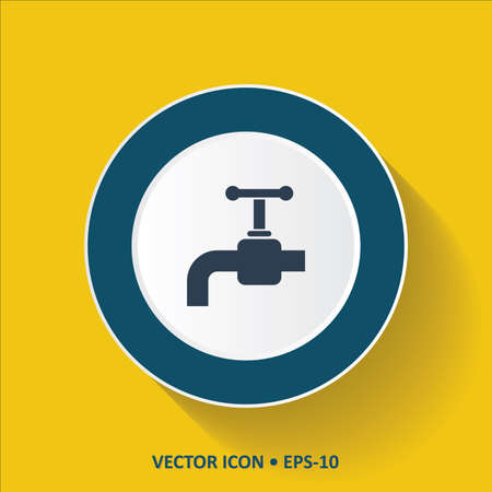 economize: Blue vector Icon of Water Tap on Yellow Color Background with Long Shadow. Eps.10.