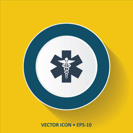 caduceus snake with stick: Blue vector Icon of Medical Symbol on Yellow Color Background with Long Shadow. Eps.10.