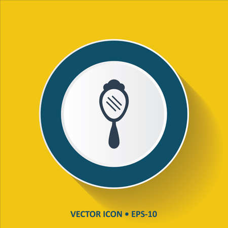 hand mirror: Blue vector Icon of Hand Mirror on Yellow Color Background with Long Shadow. Eps.10. Illustration