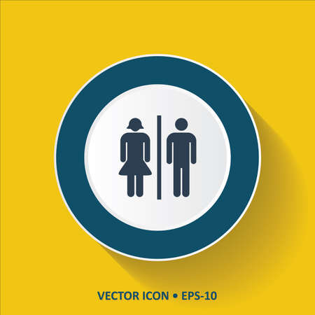 man and women wc sign: Blue vector Icon of Toilet  on Yellow Color Background with Long Shadow. Eps.10. Illustration