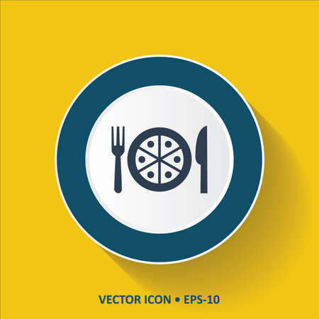 savoury: Blue vector Icon of Pizza on Yellow Color Background with Long Shadow. Eps.10.