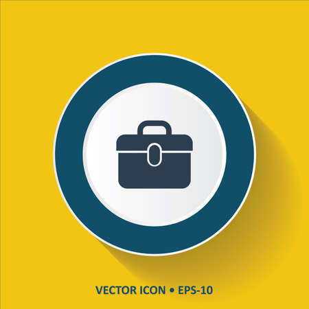 trolley case: Blue vector Icon of  Suitcase on Yellow Color Background with Long Shadow. Eps.10.