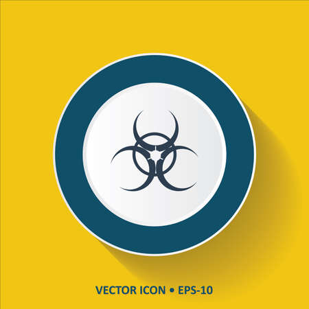 chemical weapons: Blue vector Icon of Bio Hazard on Yellow Color Background with Long Shadow. Eps.10. Illustration