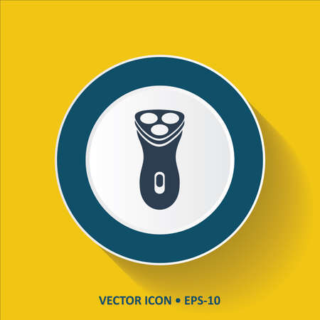 Blue vector Icon of Shaving machine on Yellow Color Background with Long Shadow. Eps.10. Illustration