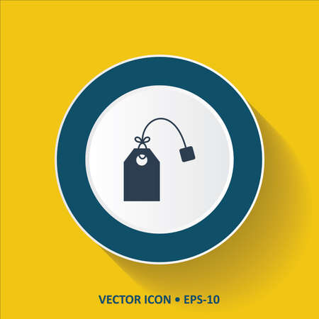 Blue vector Icon of Tea Bag on Yellow Color Background with Long Shadow. Eps.10.