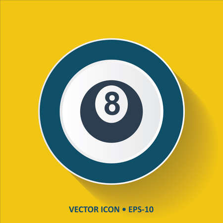8 ball: Blue vector Icon of Billards 8 Ball on Yellow Color Background with Long Shadow. Eps.10.