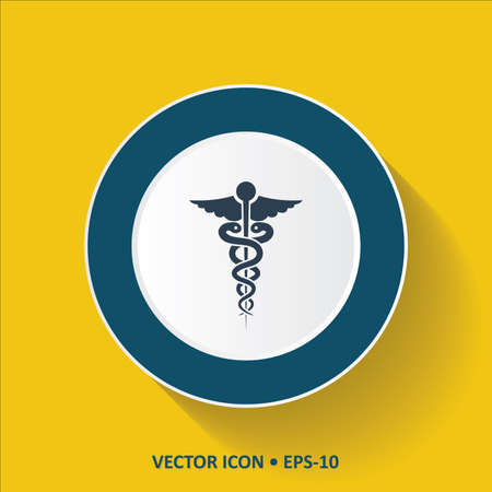 Blue vector Icon of Medical Symbol on Yellow Color Background with Long Shadow. Eps.10.