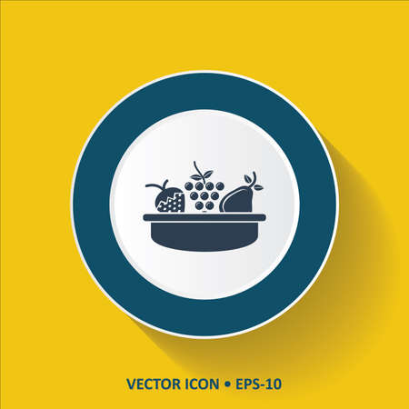 hamper: Blue vector Icon of Fruit Basket on Yellow Color Background with Long Shadow. Eps.10.