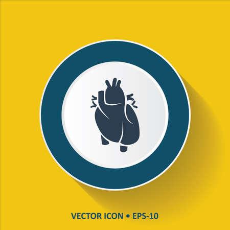 cardioid: vector icono azul del corazón humano en el fondo de color amarillo con una larga sombra. Eps.10.