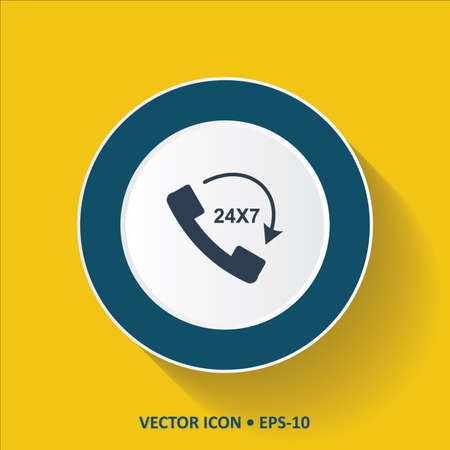 24x7: Blue vector Icon of Call 24X7 on Yellow Color Background with Long Shadow. Eps.10.