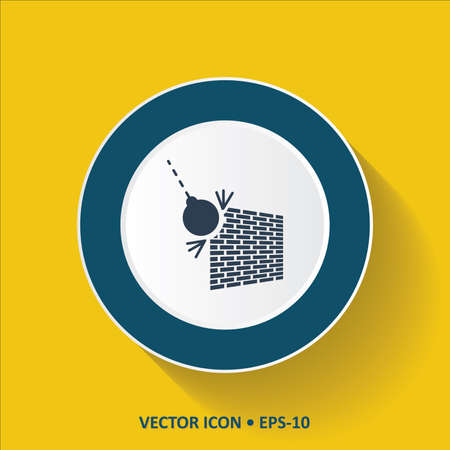 restraining: Blue vector Icon of Wrecking ball on Yellow Color Background with Long Shadow. Eps.10.