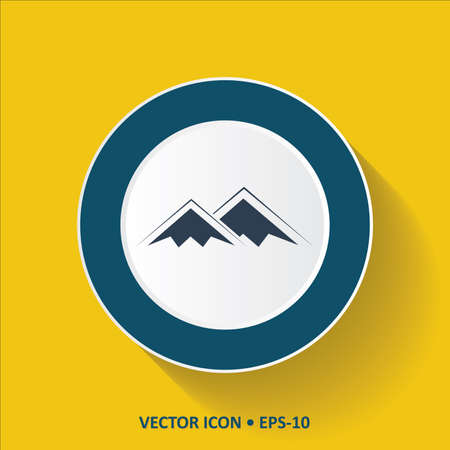 Blue vector Icon of Mountains on Yellow Color Background with Long Shadow. Eps.10.