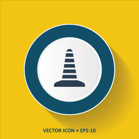 traffic pylon: Blue vector Icon of Construction Cone on Yellow Color Background with Long Shadow. Eps.10.