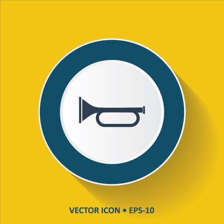 clarinet player: Blue vector Icon of Trumpet on Yellow Color Background with Long Shadow. Eps.10.