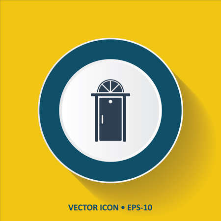 doorknob: Blue vector Icon of Door on Yellow Color Background with Long Shadow. Eps.10. Illustration