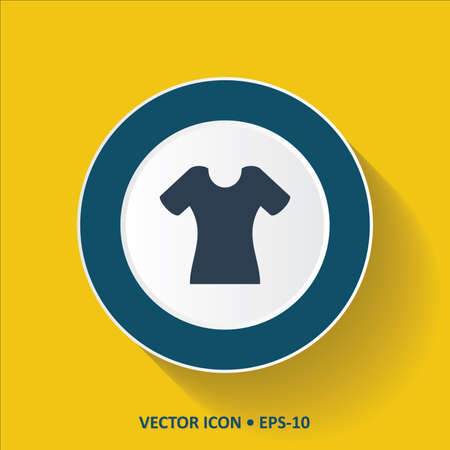 ladys: Blue vector Icon of Ladys T-Shirt on Yellow Color Background with Long Shadow. Eps.10. Illustration