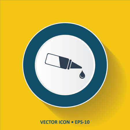 lube: Blue vector Icon of Eye Drop on Yellow Color Background with Long Shadow. Eps.10.
