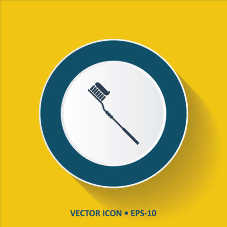 preening: Blue vector Icon of Tooth Brush on Yellow Color Background with Long Shadow. Eps.10. Illustration