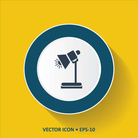 lamp shade: Blue vector Icon of Table Lamp on Yellow Color Background with Long Shadow. Eps.10. Illustration