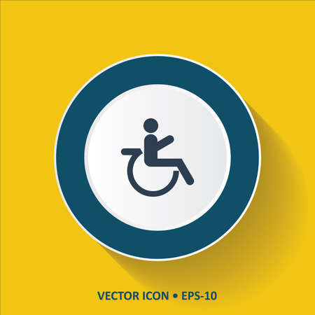 paralyze: Blue vector Icon of Wheel Chair on Yellow Color Background with Long Shadow. Eps.10.