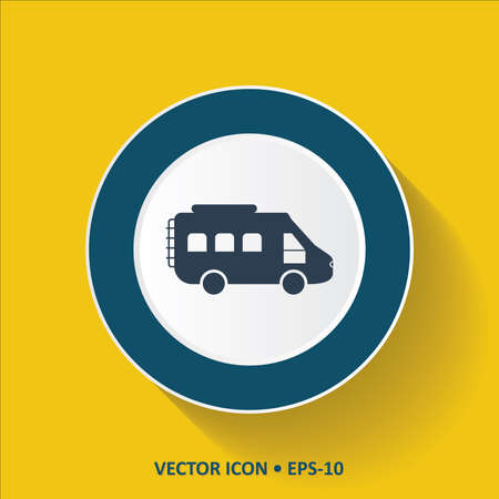 rearview: Blue vector Icon of Bus on Yellow Color Background with Long Shadow. Eps.10. Illustration