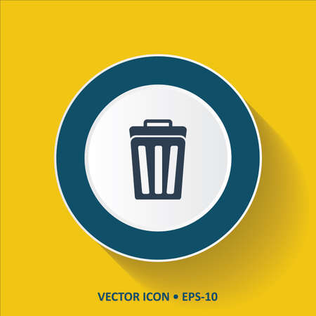 dumping: Blue vector Icon of Dustbin on Yellow Color Background with Long Shadow. Eps.10.